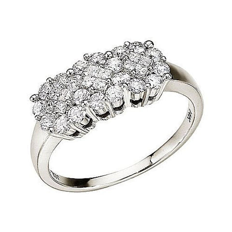 14kt White Gold Diamond Cluster Ring