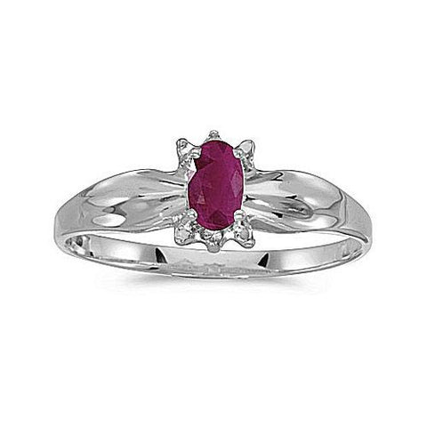 14kt White Gold 5/3mm Oval Ruby and Diamond Ring