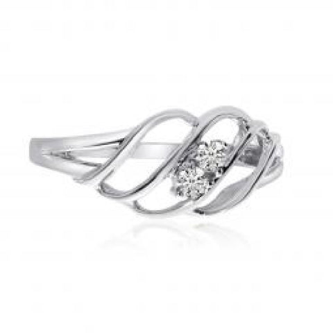 14K White Gold Two Stone Diamond .12 Ct Woven Ring