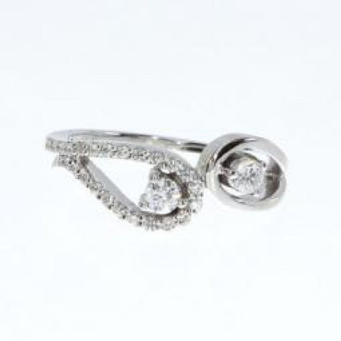 14K White Gold Two Stone Diamond .34 Ct Open Ring