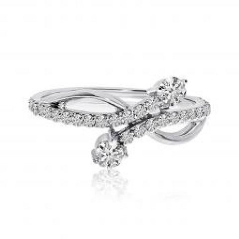 14K White Gold Two Stone Diamond .48 Ct Offset Ring