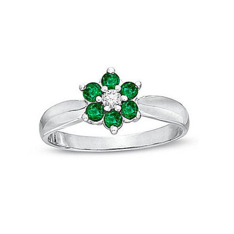 Emerald and Diamond Flower Cluster Fashion Ring set in 14k W.G.