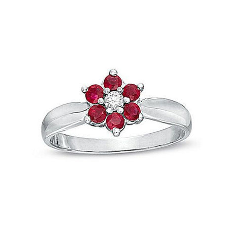 Ruby and Diamond Flower Cluster Fashion Ring set in 14k W.G.