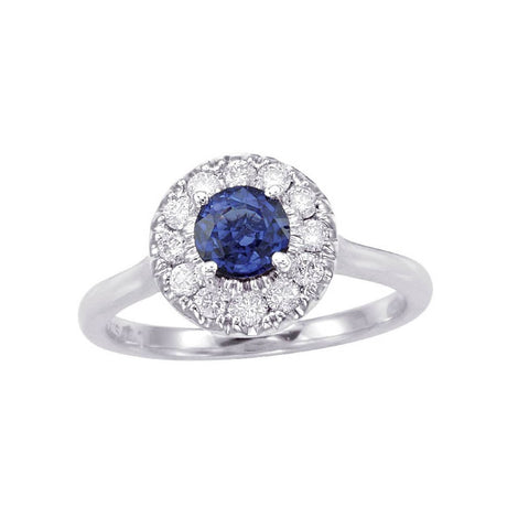 14kt White Gold Blue Sapphire and Diamond Halo Ring 1.00ct TW