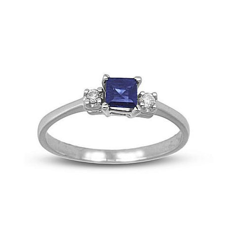 0.46cttw Diamond and Square Sapphire Ring set in 14k Gold