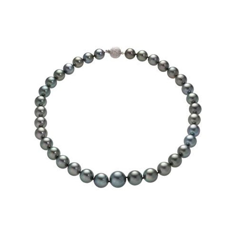 14kt White Gold Gray Tahitian Pearl Graduated Necklace