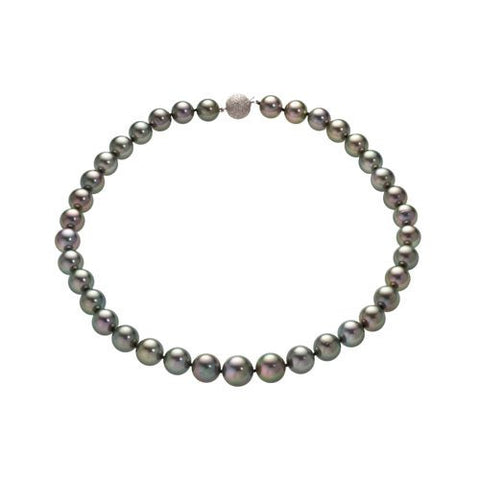 14kt White Gold Gray Tahitian Pearl Graduated Necklace 10x13mm