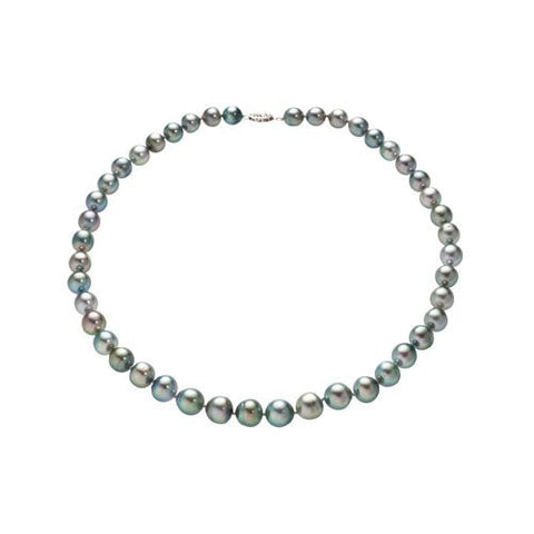 14kt W.G  Black Tahitian Pearl Semiround Graduated Necklace