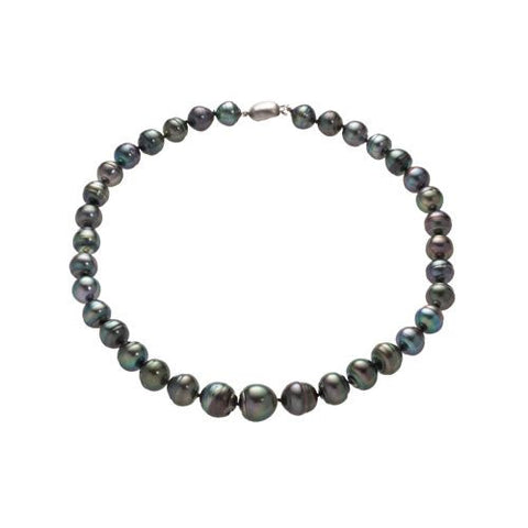 Sterling Silver Black Tahitian Baroque Pearl Graduated Necklace