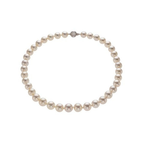 14kt White Gold South Sea Pearl Graduated Necklace 10mmx11mm