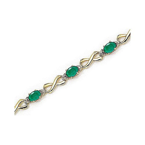14kt Yellow Gold Figure 8 Link Diamond and Emerald Bracelet