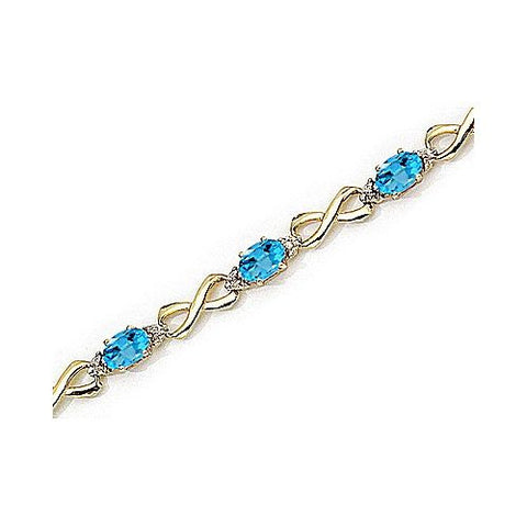 14kt Yellow Gold Figure 8 Link Diamond and Blue Topaz Bracelet