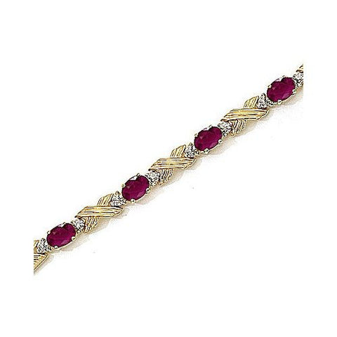 "14kt Yellow Gold ""X & O"" Diamond and Ruby Bracelet"