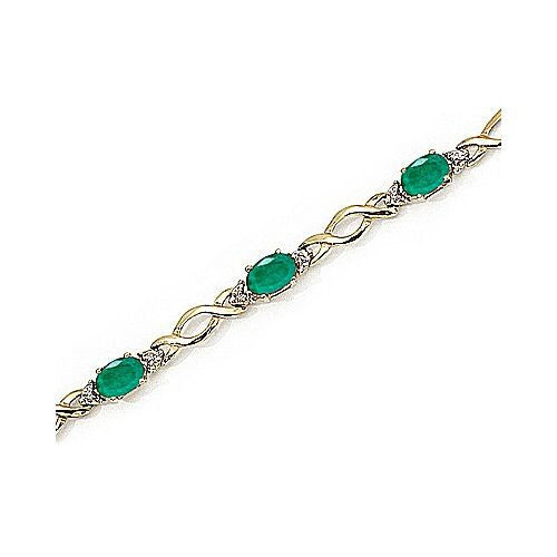 Diamond and Emerald 14kt Yellow Gold Knotted Bracelet