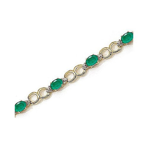 14kt Yellow Gold Diamond and Emerald Bracelet 4.25ct TW