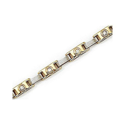 14kt Two Tone Diamond and Gold Link Bracelet 0.50 ct TW