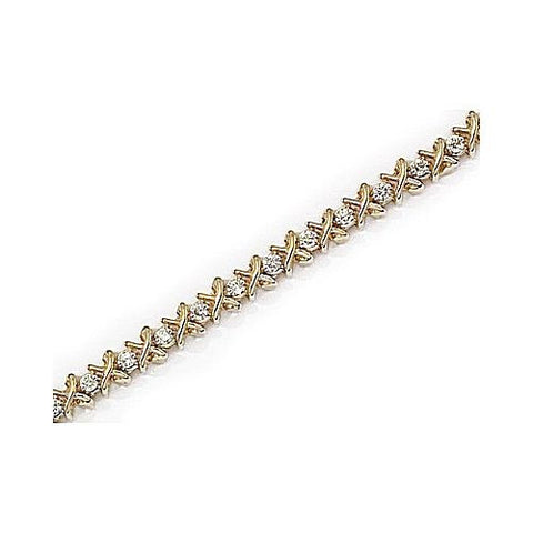 "14kt Yellow Gold Diamond ""X & O"" Bracelet 1 ct TW"