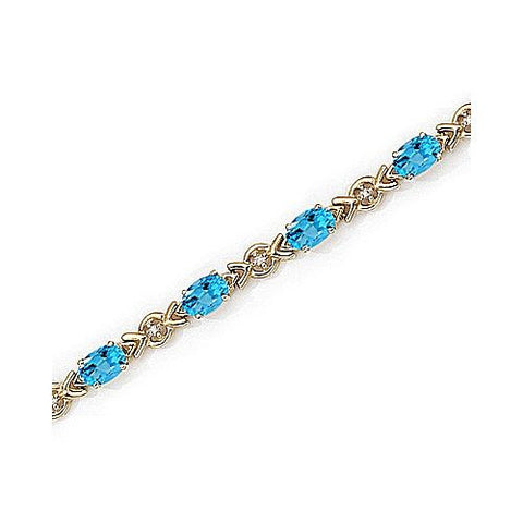 14kt Yellow Gold Diamond and Blue Topaz Bracelet 6.50ct TW