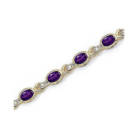 Diamond and Bezel Set Amethyst 14kt Gold Bracelet 8.50ct TW