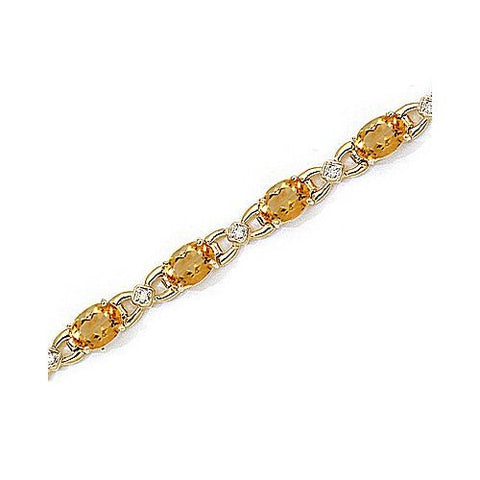 14kt Yellow Gold Diamond and Oval Citrine Bracelet 10ct TW