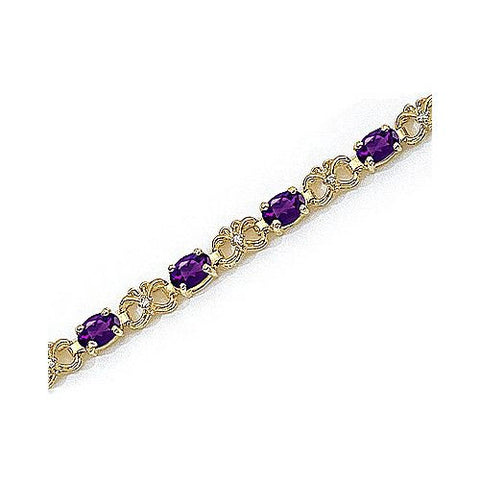 Diamond and Oval Amethyst 14kt Yellow Gold Bracelet