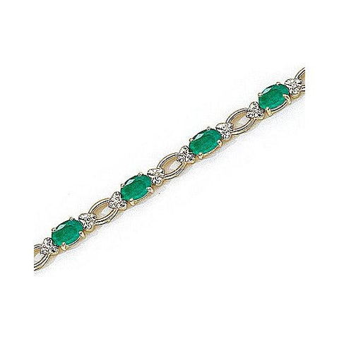 Open Link 14kt Yellow Gold Diamond and Emerald Bracelet