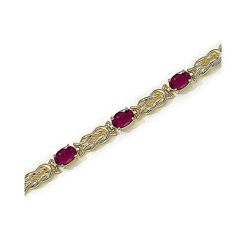 14kt Yellow Gold Ruby Rope Bracelet 6.00ct TW