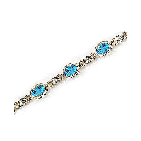 14kt Yellow Gold Diamond and Bezel Set Blue Topaz Bracelet