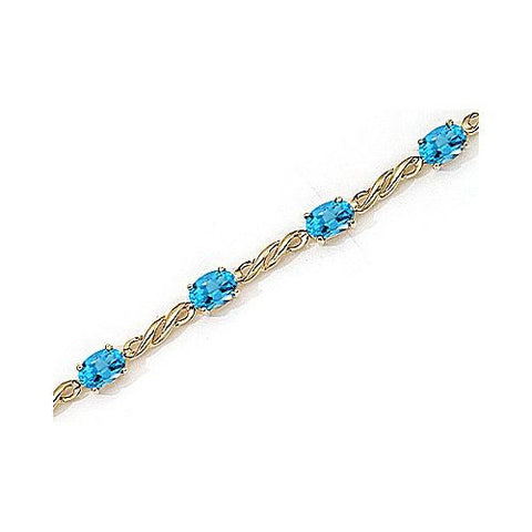 14kt Yellow Gold Twist Link Oval Blue Topaz Bracelet 5.00ct TW