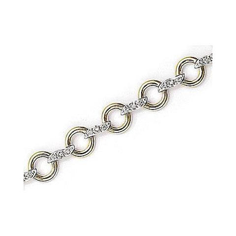 14kt White Gold Diamond Circle Link Bracelet