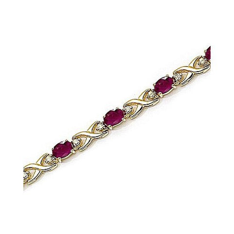 Diamond and Ruby 14kt Yellow Gold X Link Bracelet