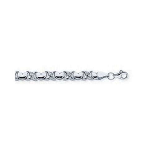 14kt White Gold Puffed Heart Stampato Bracelet 7.25 Inches