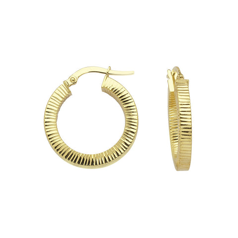 14kt Yellow Gold Ribbed Small Hoop Earrings-European Design