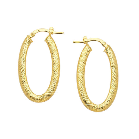14kt Yellow Gold Oval Brushed Hoop Earrings