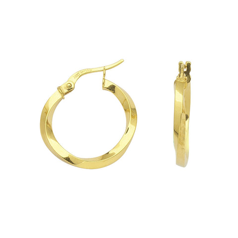 14kt Yellow Gold Knife Edge Hoop Earrings