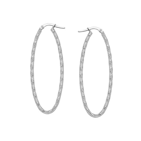 14kt White Gold Oval Euro Wave Hoop Earrings