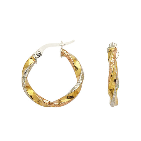 14kt Tri Color Gold Twist Hoop Earrings