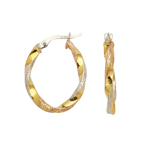 14kt Tri Color Gold Oval Twist Hoop Earrings