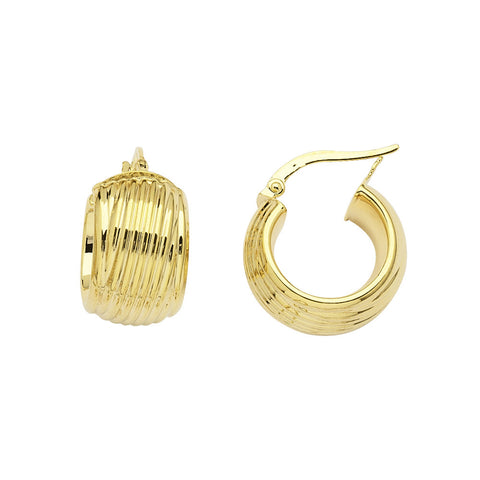 14kt Yellow Gold Ribbed 7/16 Inch Wide Circle Hoop Earrings