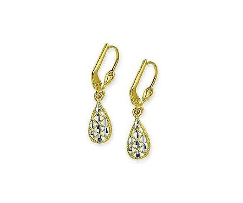 14kt Two Tone Gold Filigree Teardrop Leverback Earrings