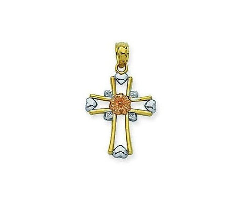 14kt Gold Tri Color Cross