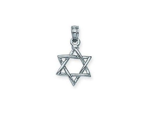 14kt White Gold Jewish Star Pendant