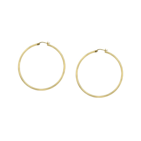 10kt Yellow Gold 2mm x 30mm Polished Hoop Earrings
