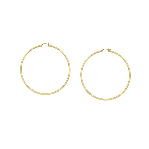 10kt Yellow Gold 2mm x 35mm Polished Hoop Earrings