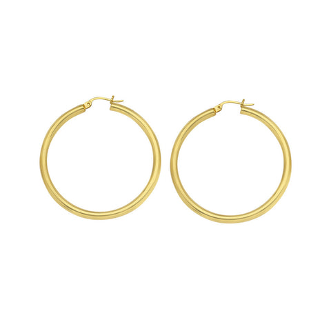 10kt Yellow Gold 3mm x 25mm Polished Hoop Earrings