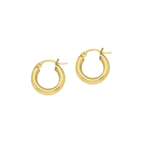 14kt Yellow Gold 3mm x 15mm Polished Hoop Earrings