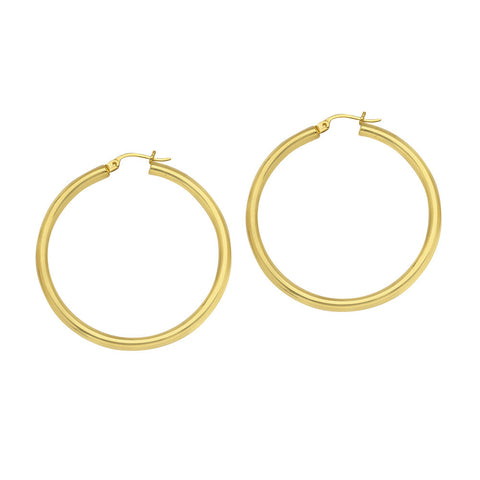 10kt Yellow Gold 3mm x 30mm Polished Hoop Earrings