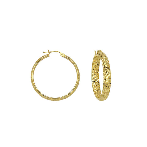 10kt Yellow Gold 3mm x 20mm Diamond Cut Hoop Earrings