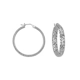 14kt Yellow Gold 4mm x 30mm Diamond Cut Hoop Earrings