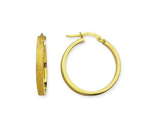 14kt Yellow Gold 1 Inch Satin Finish Hoop Earrings